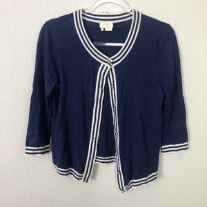 Kate Spade   Blue and White Striped Cardigan